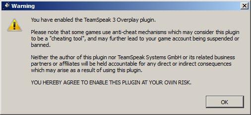 Hinweis bei Aktivierung des Overlay Plugins