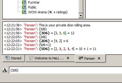 Screenshot: Rolling Dice Plugin - auf einem TS3 Server würfeln
