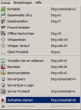 Aufnahme auf Teamspeak 3 Server