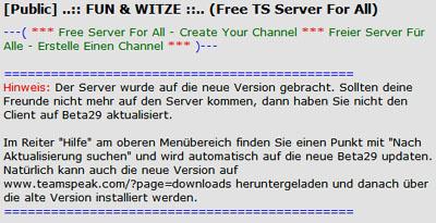 Teamspeak 3 Server Beschreibung