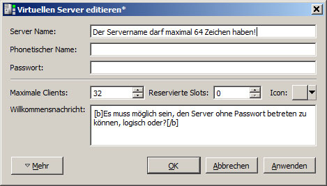 Teamspeak 3 Server Einstellungen