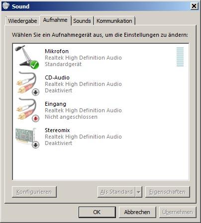 Deaktivierte Geräte mit Stereomix