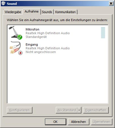 Windows 7 Sound Einstellungen