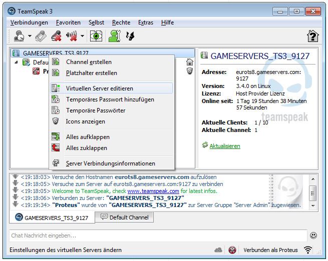 TS3 Server einrichten Bild 1