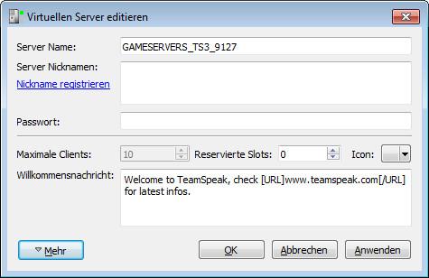 TS3 Server einrichten Bild 2