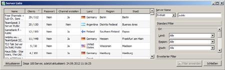 Flaggen in der Serverliste von Teamspeak 3