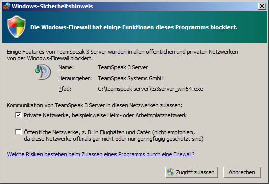 Windows 7 Firewall und Teamspeak