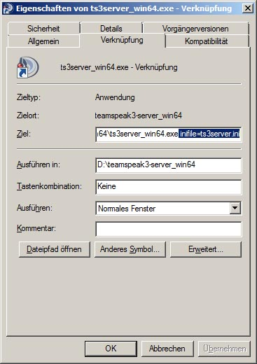 TS3 Server unter Windows mit Parameter starten