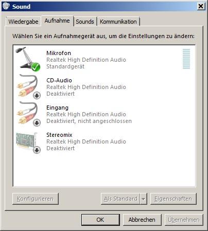 Windows 7 Aufnahmegeräte-Einstellungen